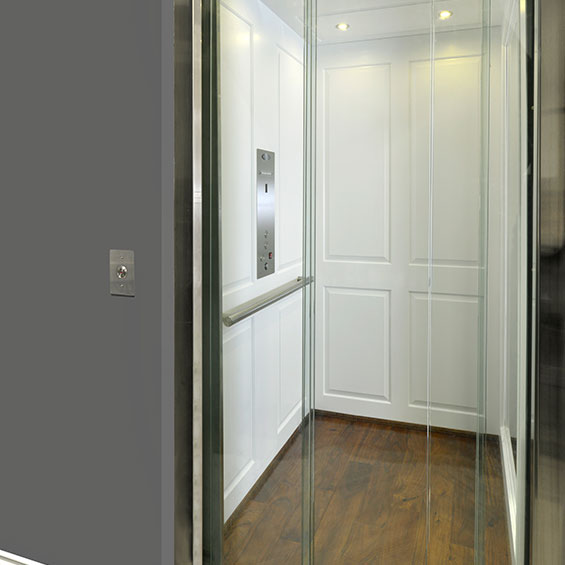 Indoor home elevator by Savaria with glass doors