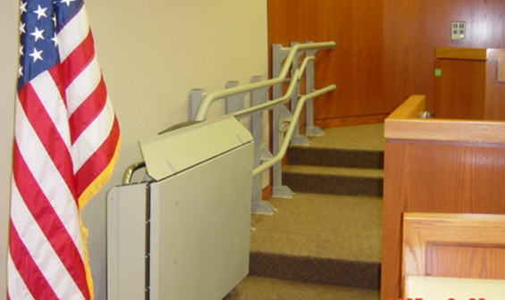 Garaventa Inclined wheelchair lift inside courthouse