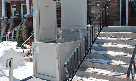 Outdoor Vertical Wheelchair Lift in the winter