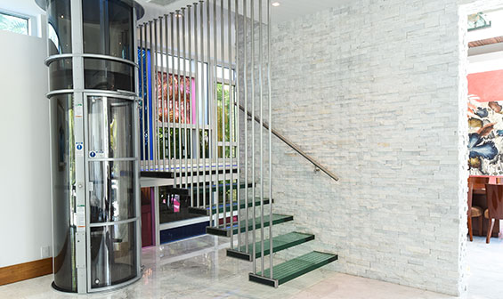 Pneumatic Vacuum Elevator on lower level of home