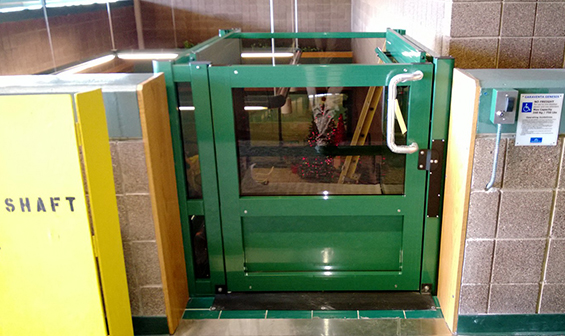 Green Vertical Wheelchair Lift