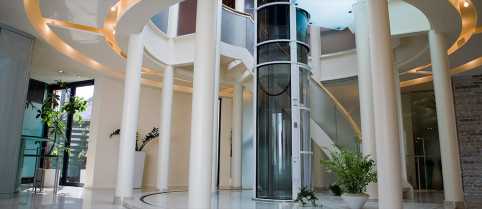 pneumatic elevator inside luxury house foyer