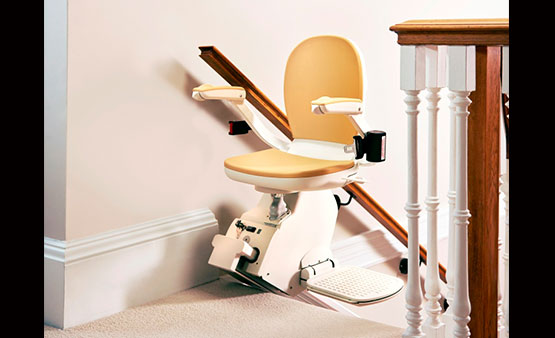 Acorn Straight Stair Lift 130 at top of stairs