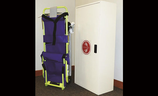 Garaventa Evacu-Trac evacuation carrier with storage cabinet