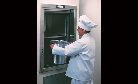 chef uses dumbwaiter