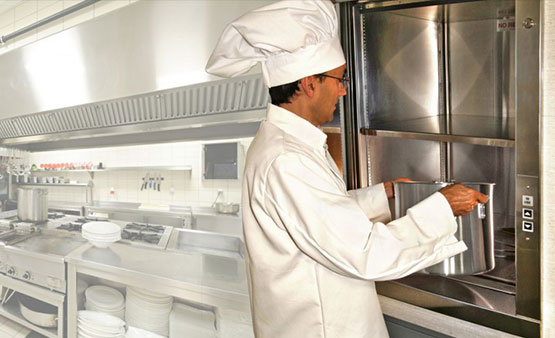 Chef uses kitchen dumbwaiter