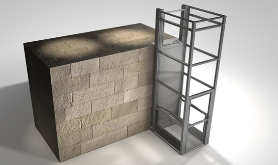 Graphic rendering of Ascension Clarity vertical wheelchair lift