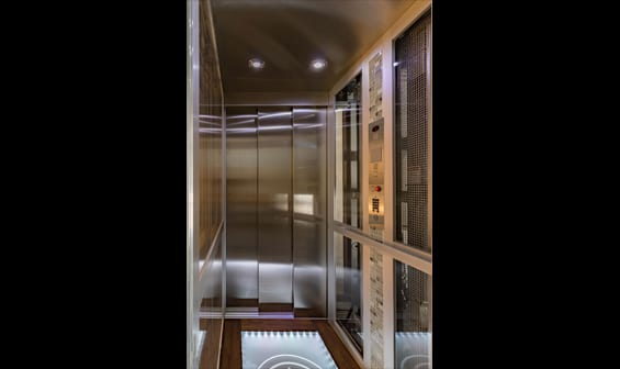 Home elevator glass