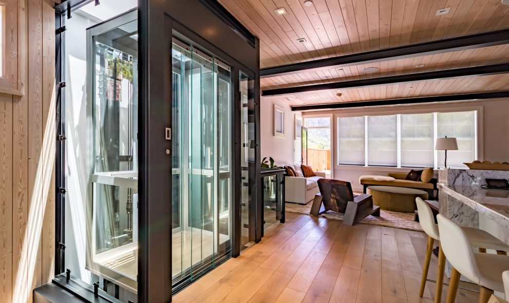 Luxury glass elevator in residential home